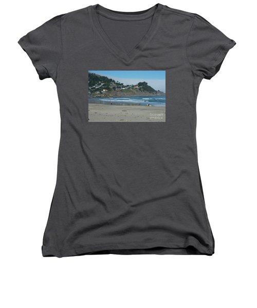 Women's V-Neck T-Shirt (Junior Cut) featuring the photograph Pacifica California by David Bearden