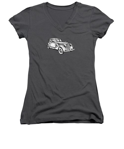 Packard Luxury Antique Car Illustration Women's V-Neck T-Shirt (Junior Cut) by Keith Webber Jr