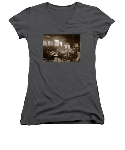 Women's V-Neck T-Shirt (Junior Cut) featuring the photograph Packing Cigars Key West Florida by John Stephens