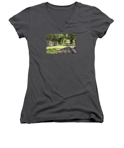 Padarn Lake Railway Women's V-Neck T-Shirt (Junior Cut) by Christopher Rowlands
