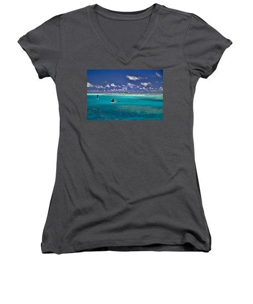 Paddling In Moorea Women's V-Neck T-Shirt (Junior Cut) by David Smith