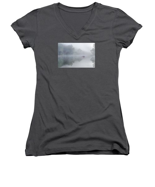 Paddling In The White Women's V-Neck T-Shirt (Junior Cut) by Robert Charity