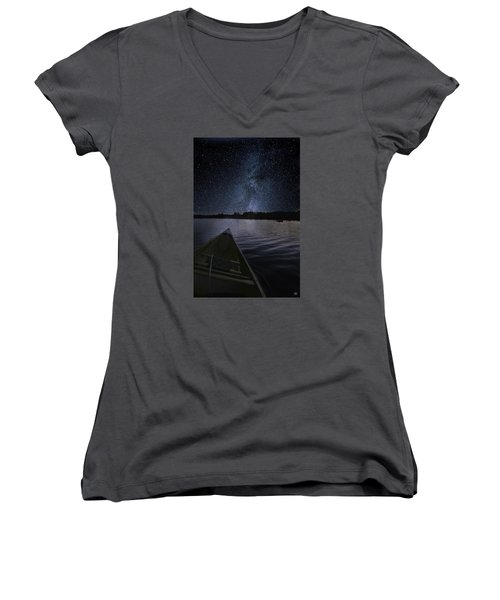 Paddling The Milky Way Women's V-Neck (Athletic Fit)
