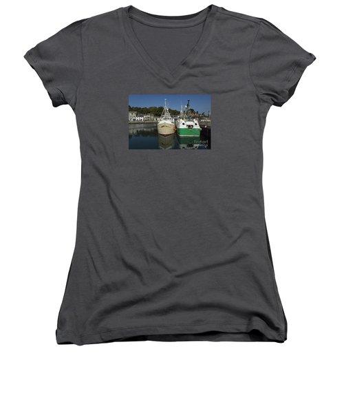 Padstow Fishing Boats Women's V-Neck T-Shirt (Junior Cut) by Brian Roscorla
