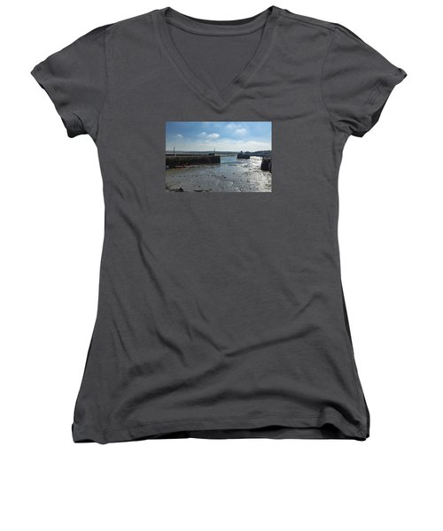 Padstow Harbour Women's V-Neck T-Shirt (Junior Cut) by Brian Roscorla
