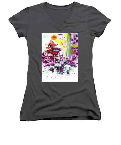 Women's V-Neck T-Shirt featuring the painting Pagoda by Zaira Dzhaubaeva
