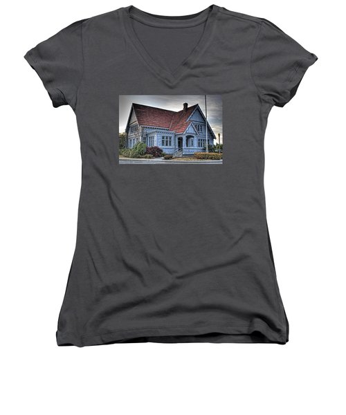 Painted Blue House Women's V-Neck (Athletic Fit)