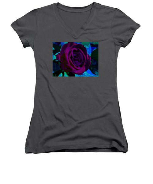 Painted Rose Women's V-Neck T-Shirt (Junior Cut) by Samantha Thome