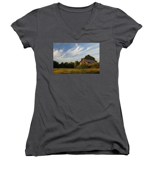Painted Sky Barn Women's V-Neck T-Shirt (Junior Cut) by Benanne Stiens