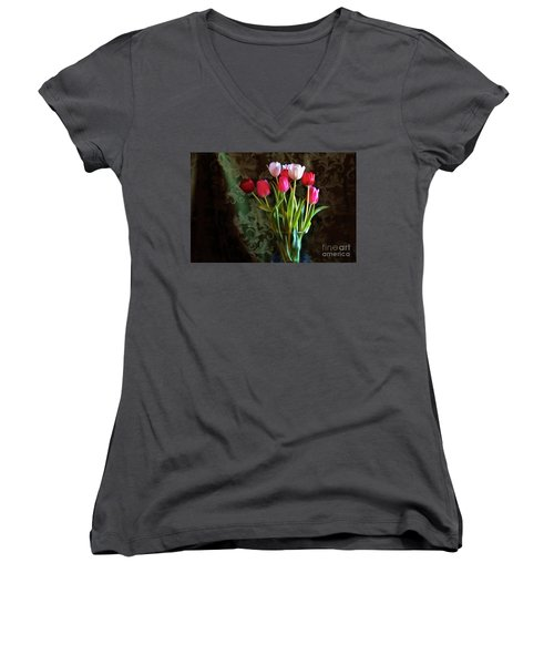 Painted Tulips Women's V-Neck T-Shirt (Junior Cut) by Joan Bertucci