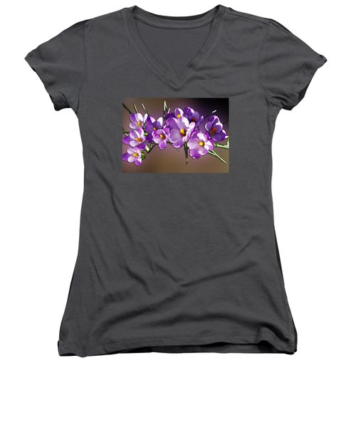 Women's V-Neck T-Shirt (Junior Cut) featuring the photograph Painted Violets by John Haldane