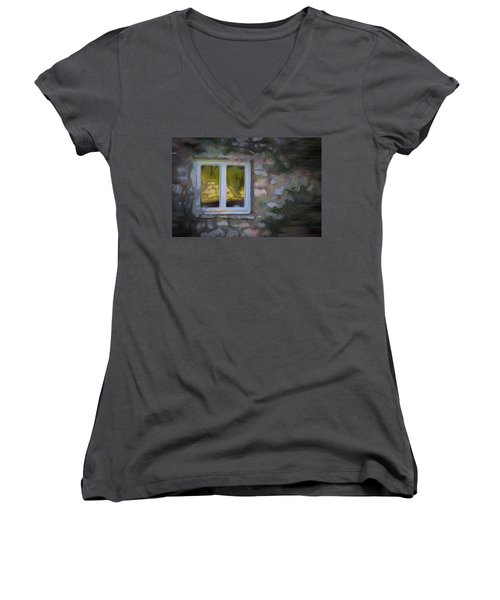 Painted Window Women's V-Neck T-Shirt (Junior Cut)