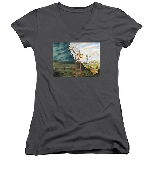 Paintin Up A Storm Women's V-Neck (Athletic Fit)