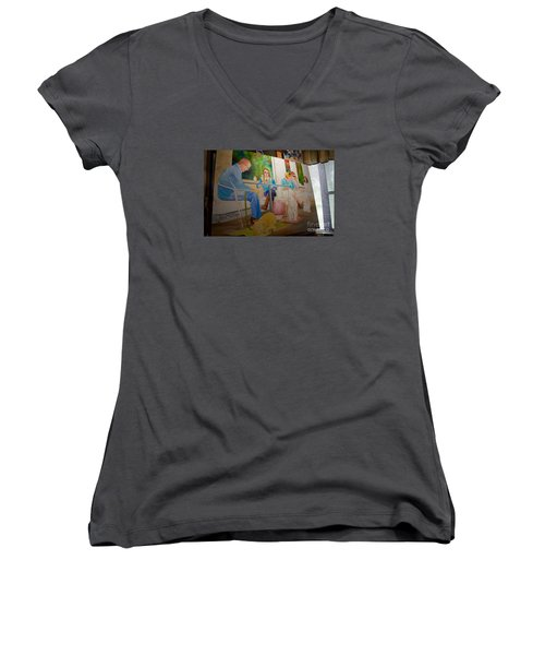Women's V-Neck T-Shirt (Junior Cut) featuring the painting Painting Dogs On Park Avenue by AnnaJo Vahle