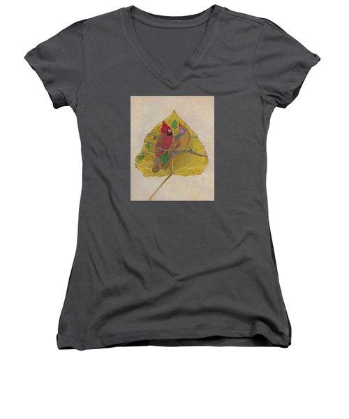 Pair Of Cardinals Women's V-Neck T-Shirt (Junior Cut) by Ralph Root