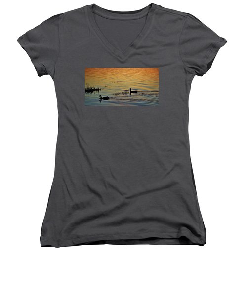 Pair Of Paddlers Women's V-Neck T-Shirt (Junior Cut) by William Bartholomew