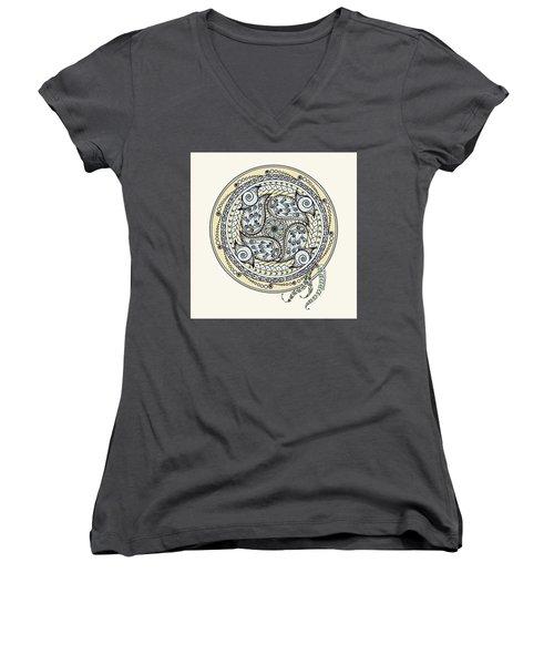 Paisley Balance Mandala Women's V-Neck T-Shirt (Junior Cut) by Deborah Smith
