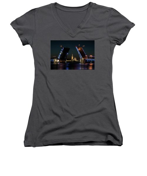 Palace Bridge At Night Women's V-Neck (Athletic Fit)