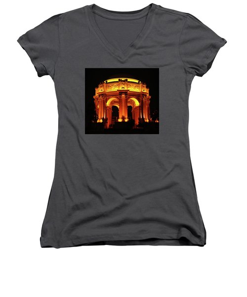 Palace Of Fine Arts - Dome At Night Women's V-Neck T-Shirt