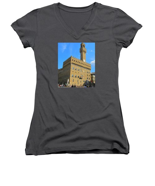 Palazzo Vecchio Florence Women's V-Neck T-Shirt (Junior Cut) by Lisa Boyd