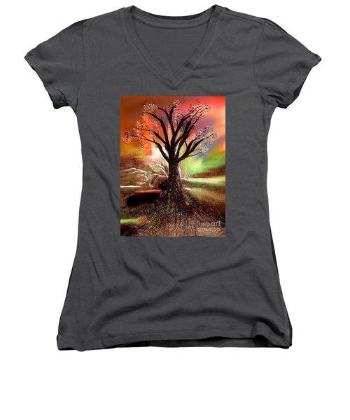 Pale Moonlight 2 Women's V-Neck T-Shirt (Junior Cut) by Yul Olaivar