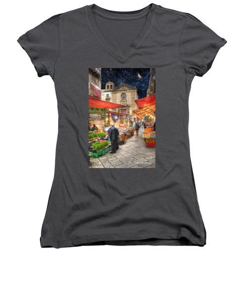 Palermo Market Place Women's V-Neck T-Shirt (Junior Cut) by Juli Scalzi