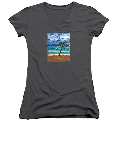Women's V-Neck T-Shirt (Junior Cut) featuring the painting Palm Beach by J R Seymour