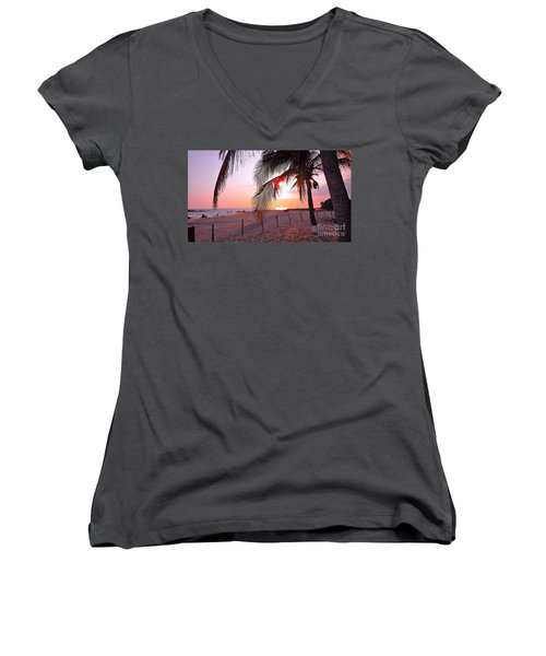 Palm Collection - Sunset Women's V-Neck T-Shirt (Junior Cut) by Victor K