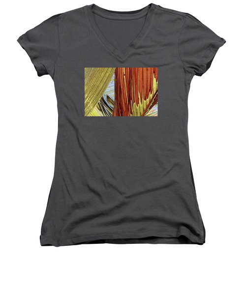 Women's V-Neck T-Shirt (Junior Cut) featuring the photograph Palm Leaf Abstract by Ben and Raisa Gertsberg