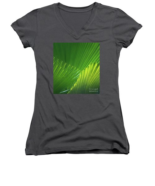 Palm Leaves Women's V-Neck (Athletic Fit)