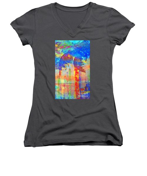Palm Party Women's V-Neck T-Shirt (Junior Cut) by Holly Martinson