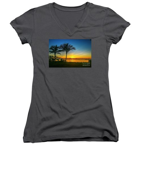 Palm Tree And Boat Sunrise Women's V-Neck (Athletic Fit)