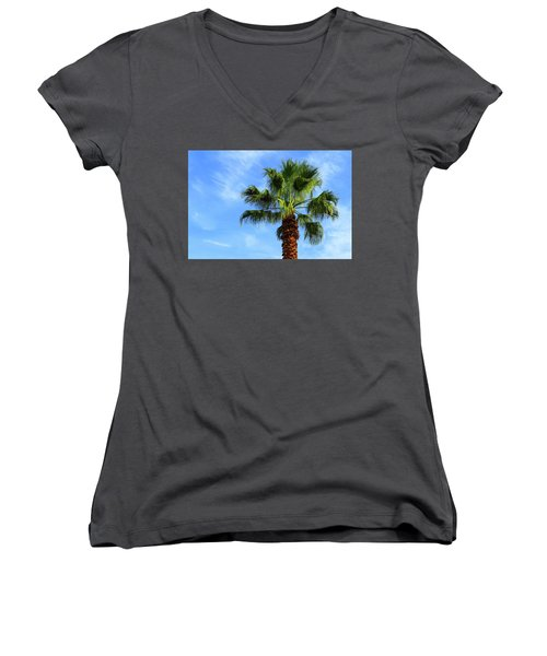 Palm Tree, Blue Sky, Wispy Clouds Women's V-Neck (Athletic Fit)