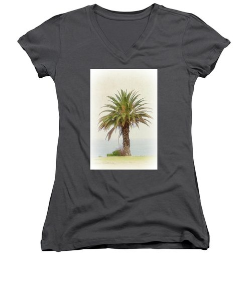 Palm Tree In Coastal California In A Retro Style Women's V-Neck (Athletic Fit)