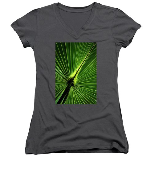 Palm Tree With Back-light Women's V-Neck T-Shirt