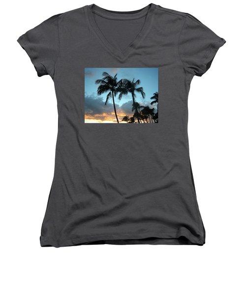 Palm Trees At Sunset Women's V-Neck