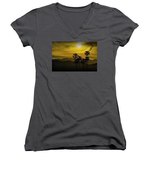 Women's V-Neck T-Shirt (Junior Cut) featuring the photograph Palm Trees At Sunset With Mountains In California by Randall Nyhof