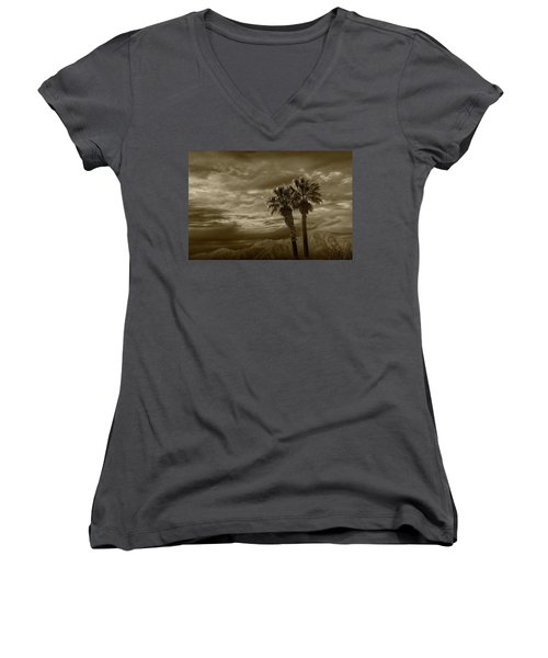 Women's V-Neck T-Shirt (Junior Cut) featuring the photograph Palm Trees By Borrego Springs In Sepia Tone by Randall Nyhof
