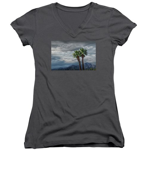 Women's V-Neck T-Shirt (Junior Cut) featuring the photograph Palm Trees By Borrego Springs In The Anza-borrego Desert State Park by Randall Nyhof