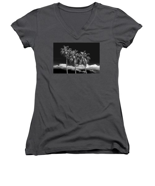 Women's V-Neck T-Shirt (Junior Cut) featuring the photograph Palm Trees In Black And White On Cabrillo Beach by Randall Nyhof