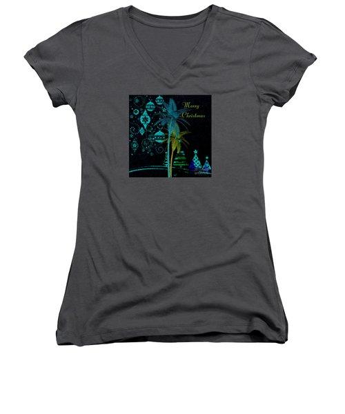 Women's V-Neck T-Shirt (Junior Cut) featuring the digital art Palm Trees Merry Christmas by Megan Dirsa-DuBois