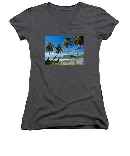 Palm Trees On Sandy Beach Women's V-Neck T-Shirt (Junior Cut) by Anthony Fishburne