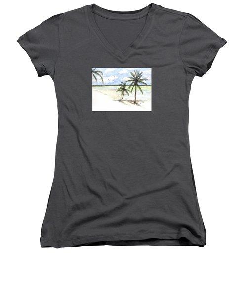 Palm Trees On The Beach Women's V-Neck