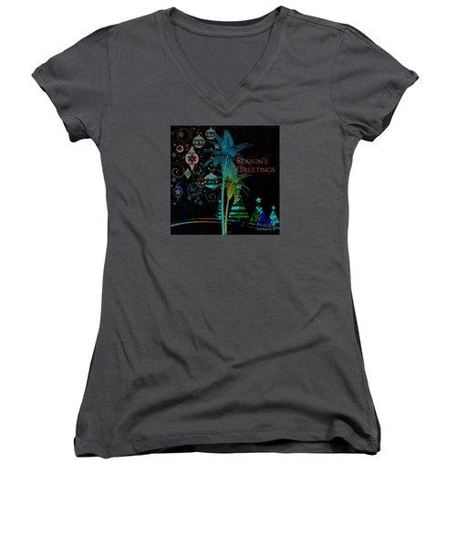 Women's V-Neck T-Shirt (Junior Cut) featuring the digital art Palm Trees Season's Greetings by Megan Dirsa-DuBois