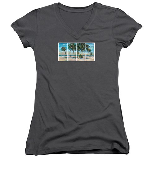 Women's V-Neck T-Shirt (Junior Cut) featuring the painting Palms Along The Shore by Linda Olsen