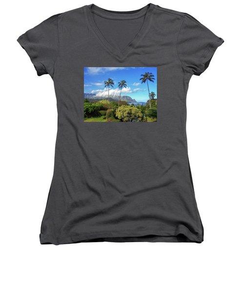 Palms At Hanalei Women's V-Neck T-Shirt