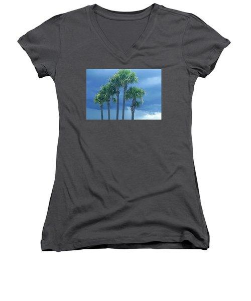 Palmy Skies Women's V-Neck T-Shirt (Junior Cut) by Rachel Hannah
