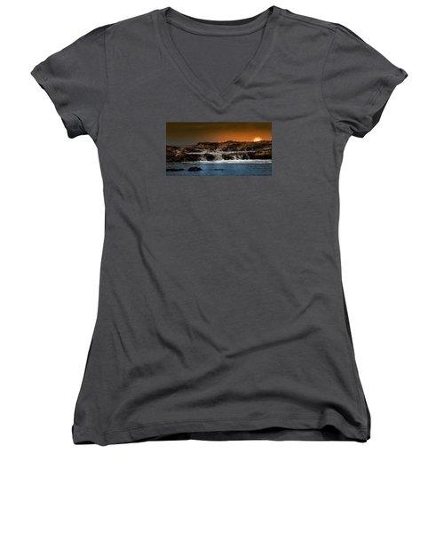 Palos Verdes Coast Women's V-Neck T-Shirt (Junior Cut) by Ed Clark