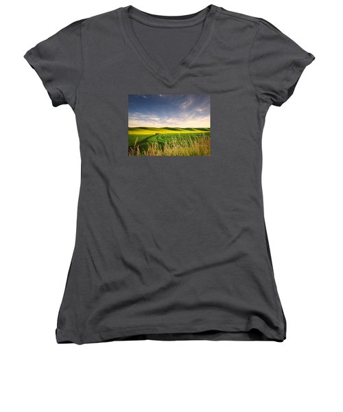 Women's V-Neck T-Shirt (Junior Cut) featuring the photograph Palouse Bounty by Dan Mihai