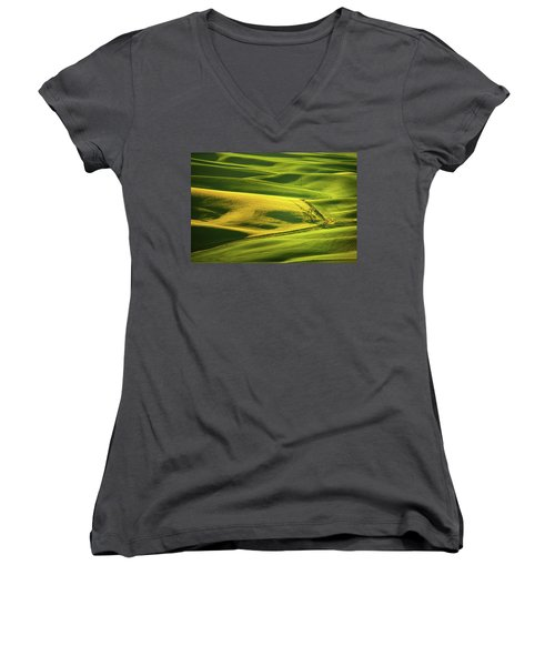 Women's V-Neck T-Shirt (Junior Cut) featuring the photograph Palouse Shades Of Green by Dan Mihai
